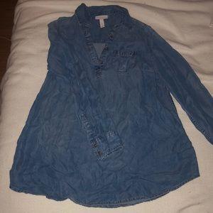 Jean material maternity dress